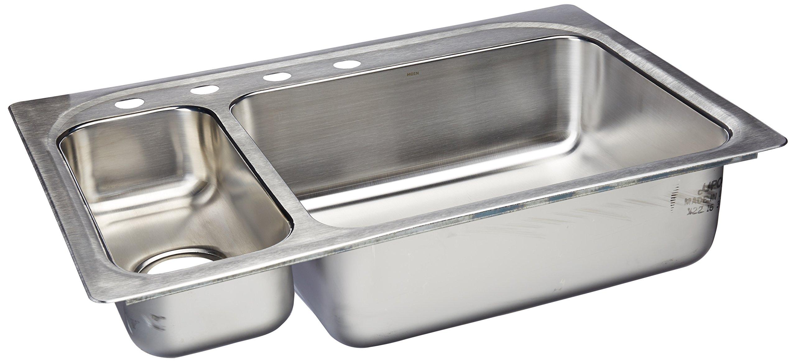 Moen G202864 2000 Series 20 Gauge Double Bowl Drop in Sink, Stainless Steel