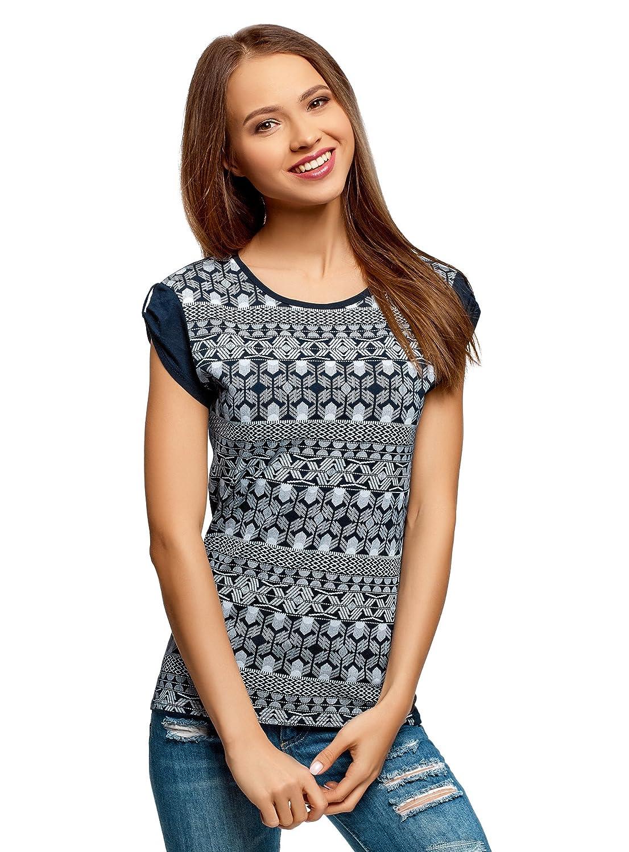 Tombantes Et Ethnique Ultra Avec Imprimé Oodji Épaules Femme Shirt T 435RSjcqAL