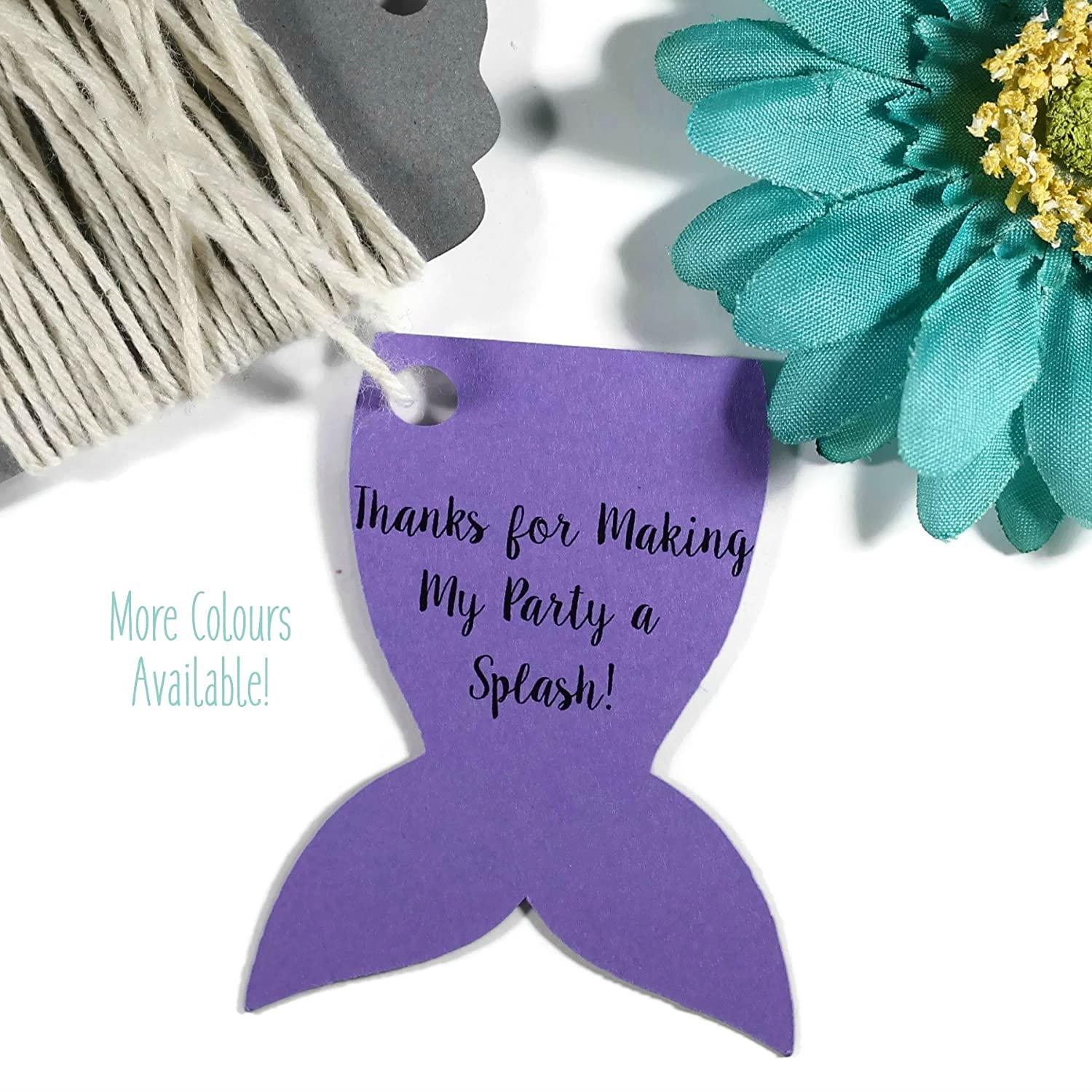 Purple Mermaid Tail Party Favor Tags - Thanks for Making My Party a Splash (Set of 20)