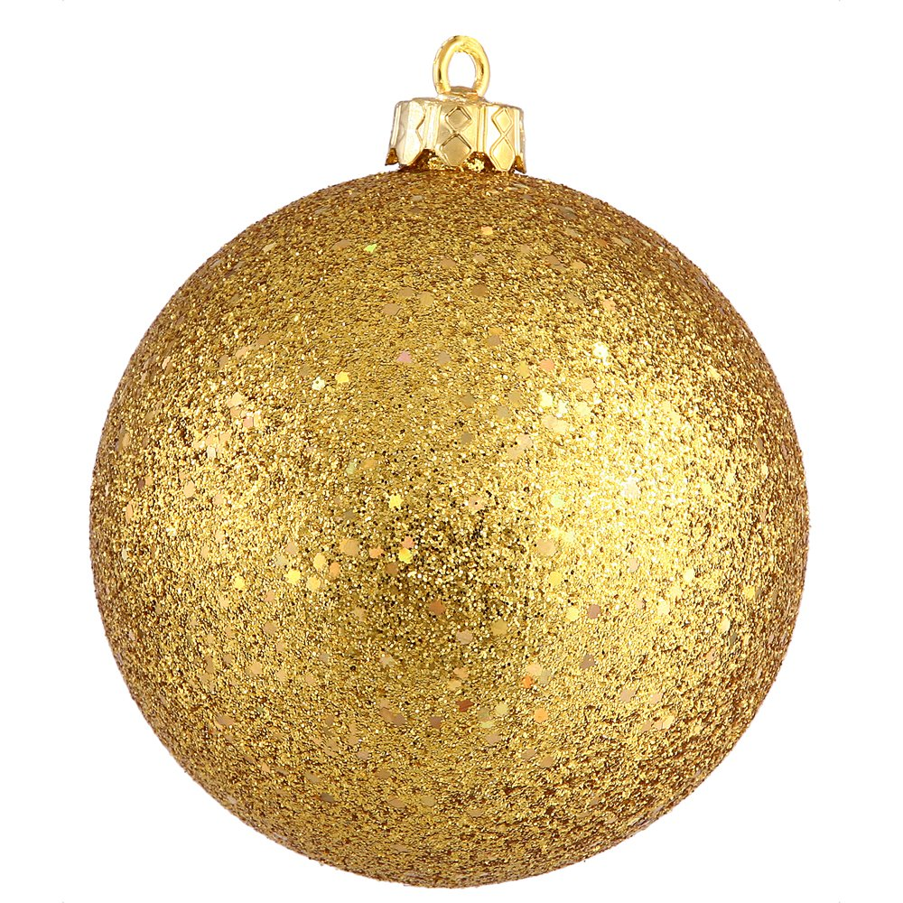 Rose Gold Pre-drilled cap Secured /& 6 of Green Floral Wire 8 Vickerman N592058DG Glitter Ball Ornament with Shatterproof /& UV Resistant Pre-drilled cap Secured /& 6 of Green Floral Wire 8