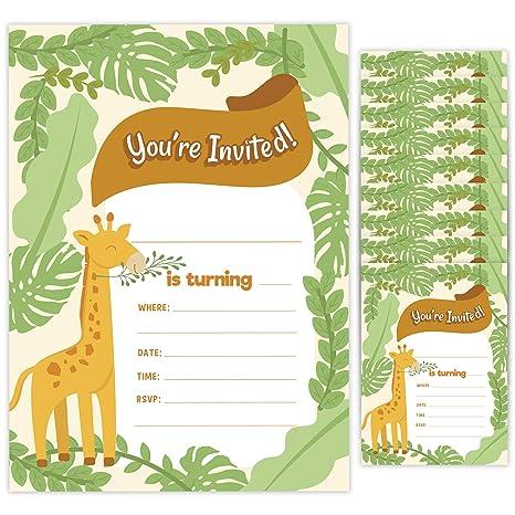 Tarjetas De Invitación De Cumpleaños Estilo Jirafa 1 10