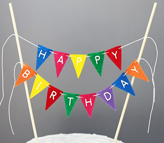 Image Unavailable Not Available For Color Rainbow Colors Happy Birthday Cake Topper Banner Decoration