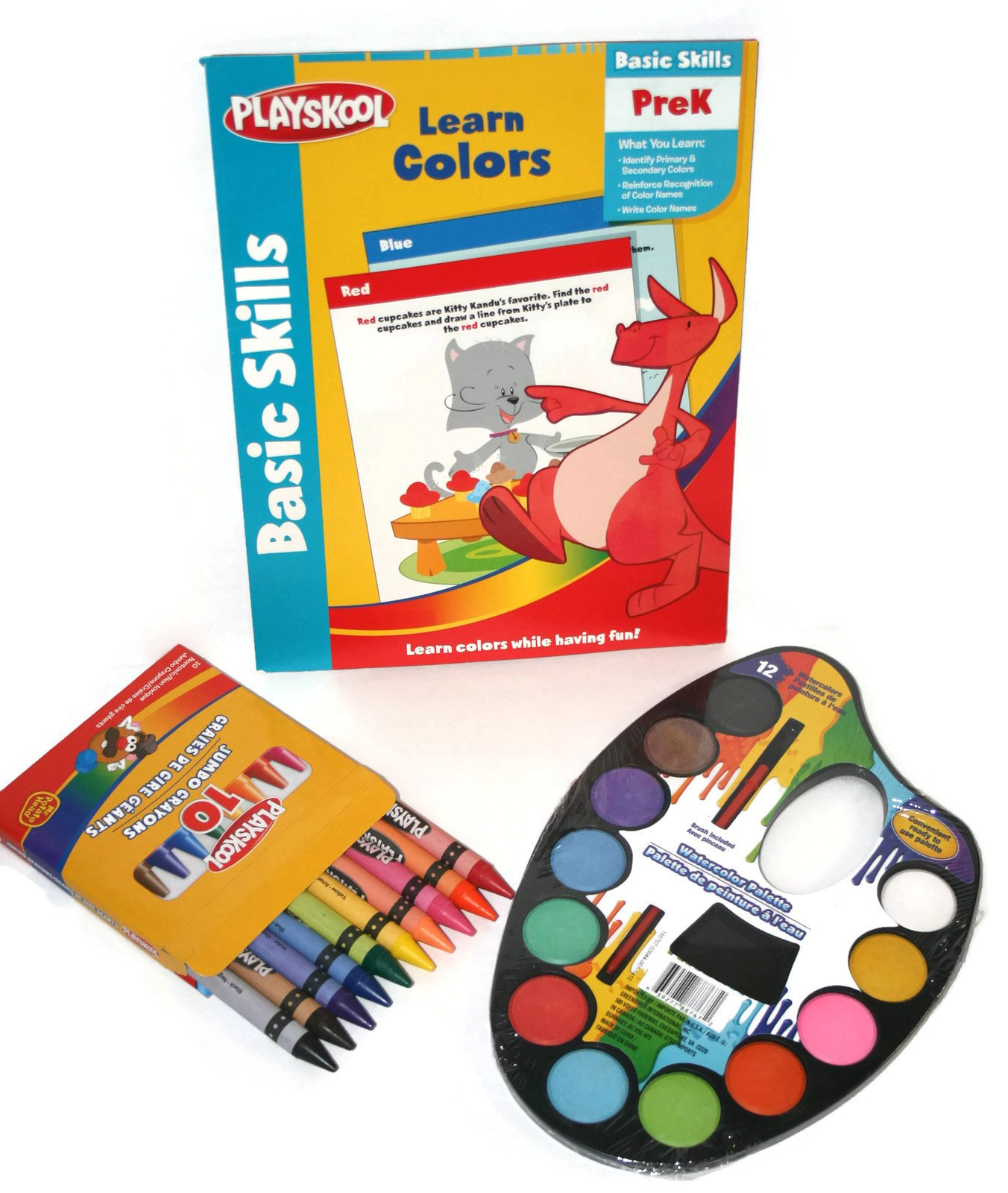 ''Color Me Ready for School'' Pre-k Basic Skills Learning Colors Prep Kit Bundle - Three Items: One Watercolor Palette Set of 12 Paints, One Playskool 10 Pc Set of Jumbo Crayons, One Playskool Basic Skills Pre-k Learning Colors Workbook