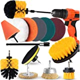 AAPOZZ Drill Brush Attachment Set - Power Scrubber with Additional Steel Wire and conical Brushes for Cars, Grill, Floor…