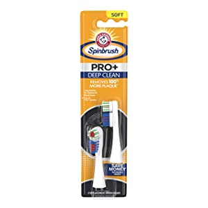 ARM & HAMMER Spinbrush PRO+ Deep Clean Powered Toothbrush Replacement Brush Heads, Soft, 2 Count