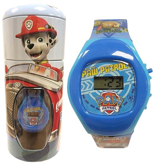 Reloj de pulsera para niños oficial de «La patrulla canina», Chase y Marshall, en hucha de lata, color azul, 56274: Amazon.es: Relojes