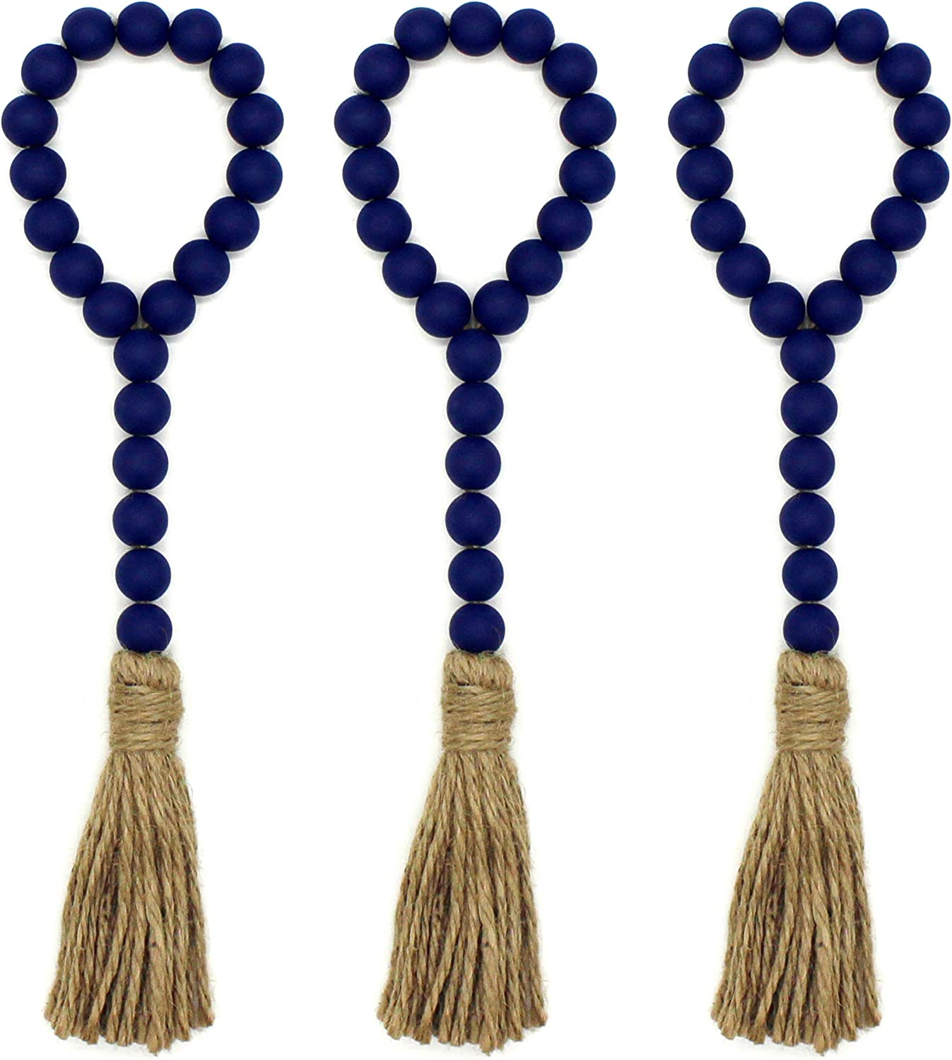 CVHOMEDECO. Wood Beads Garland with Tassels 3 PCS Farmhouse Rustic Wooden Prayer Bead String Wall Hanging Accent for Home Festival Decor. Navy Blue