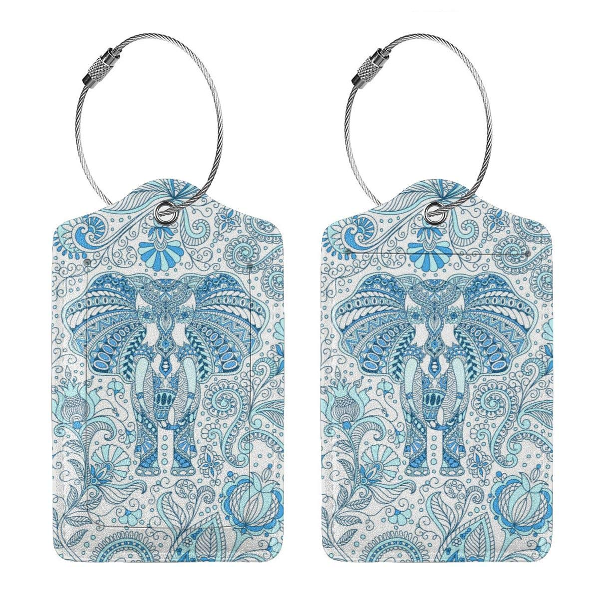 Blue Indian Elephant Travel Luggage Tags With Full Privacy Cover Leather Case And Stainless Steel Loop