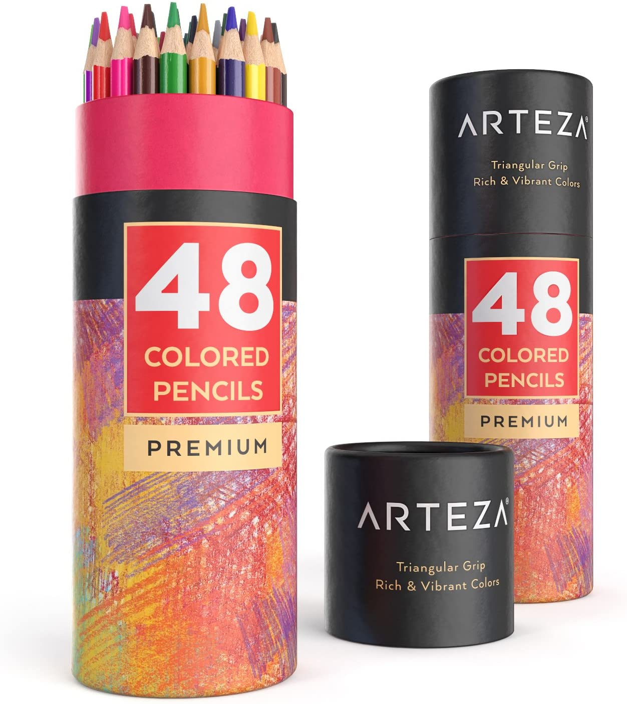 Arteza Colored Pencils, 48 Colors, Soft, Highly-Pigmented, Wax-Based Core Pencil Crayons, Art Supplies for Adults & Kids: Office Products