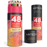 ARTEZA Colored Pencils Set, 48 Colors with Color Names, Triangular shaped, Pre sharpened, Soft Wax-Based Cores, Vibrant…