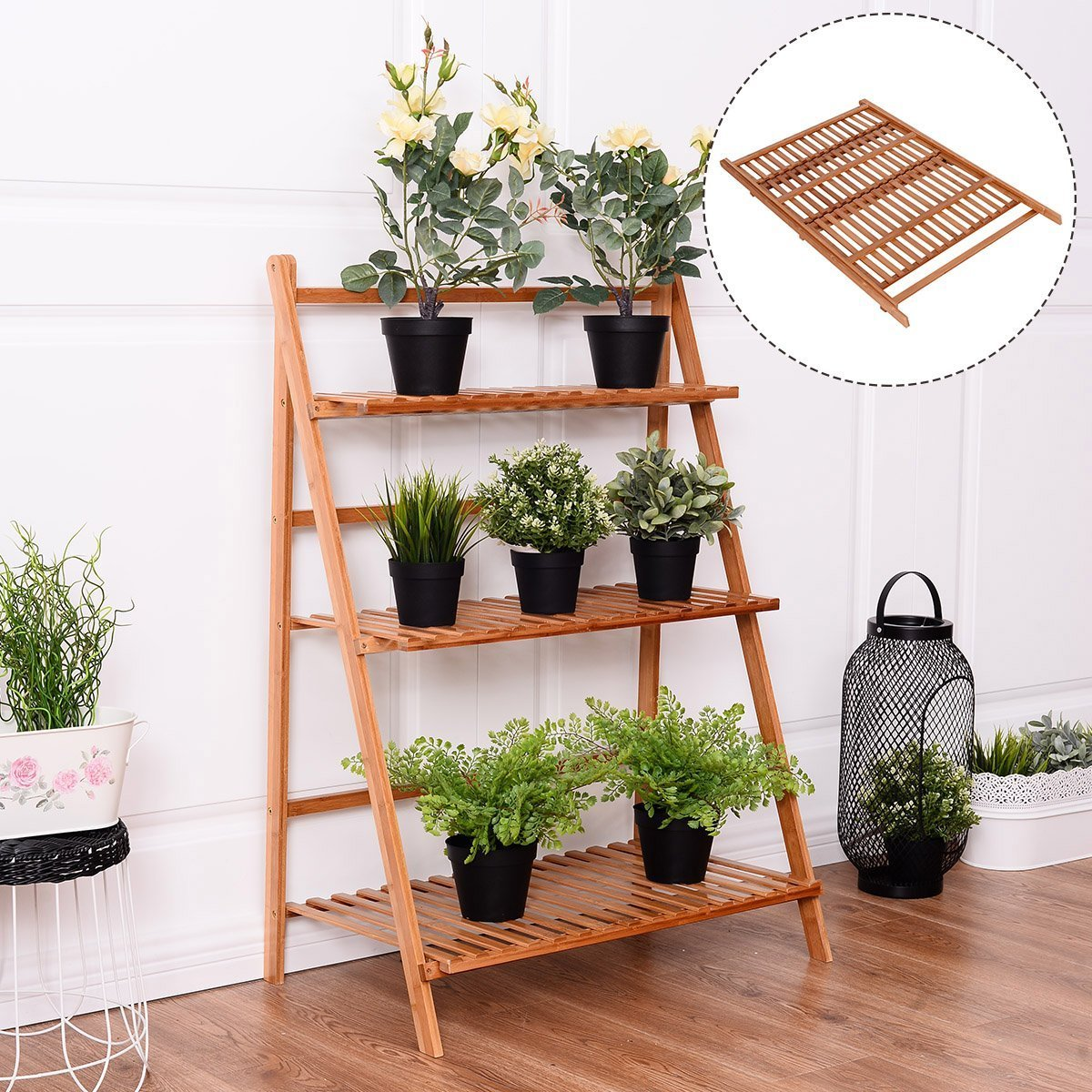 Costway 3 Tier Folding Bamboo Stand Flower Plant Pot Display Shelf Ladder Garden Outdoor