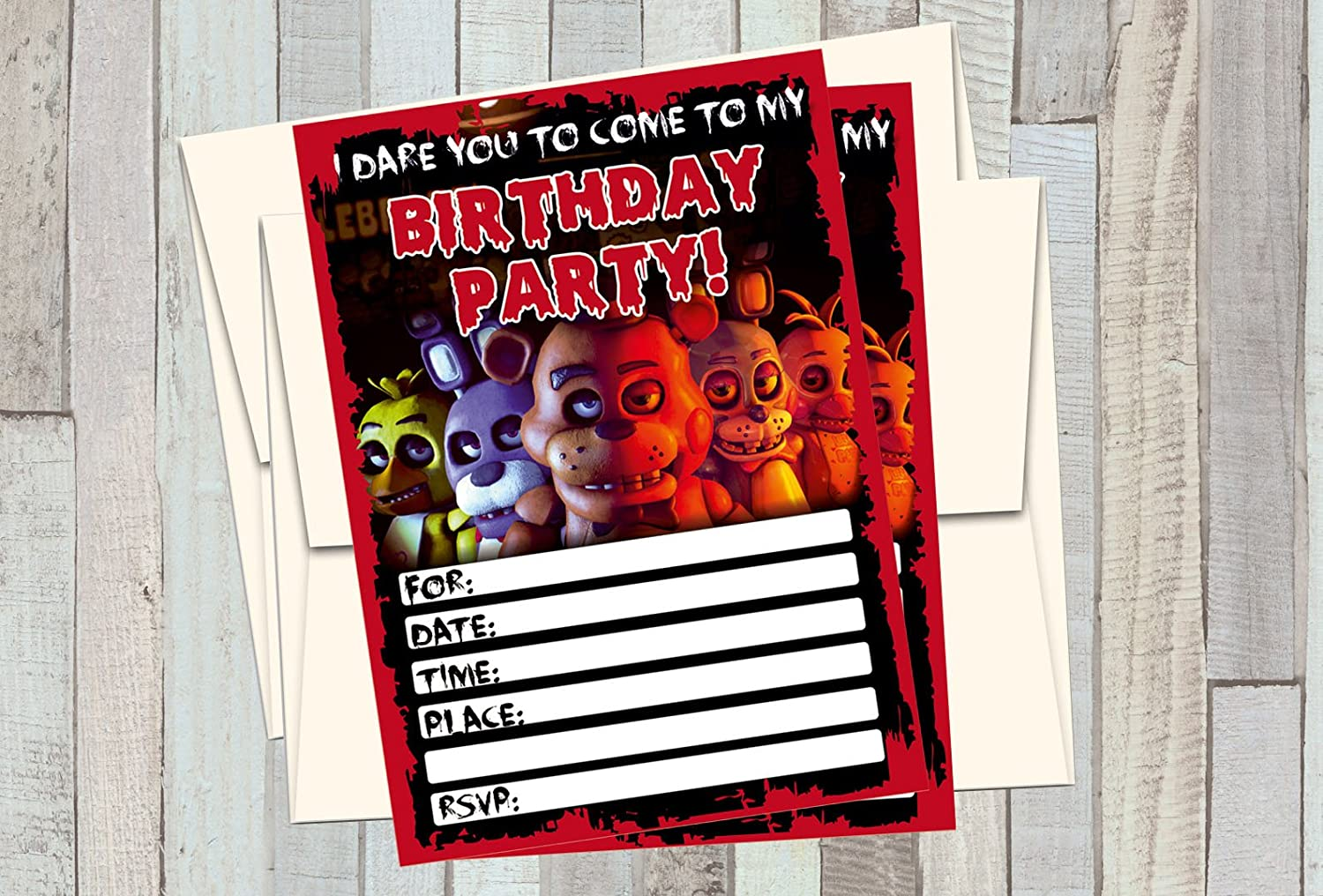 Amazon 12 FIVE NIGHTS AT FREDDYS Birthday Invitations 5x7in Cards Matching White Envelopes Kitchen Dining