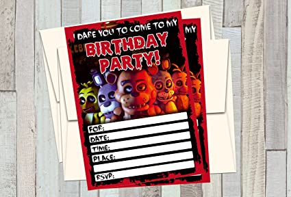 12 FIVE NIGHTS AT FREDDYS Birthday Invitations 5x7in Cards Matching White Envelopes