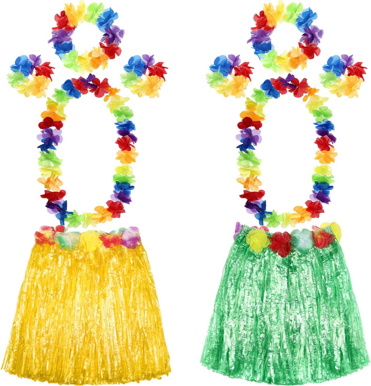Shappy 2 Sets Hawaiian Hula Grass Skirt with Flower Leis Hawaiian Costume Set, Elastic Luau Grass and Hawaiian Flower Bracelets, Headband, Necklace for Party Favors (Green, Yellow)