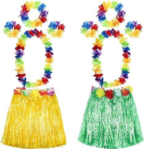 Hawaiian Hula Grass Skirt Fancy Dress Adult Costume With Flower Long Stylish HU