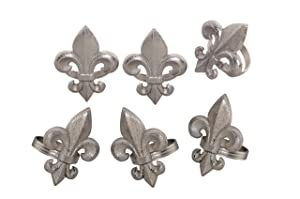 Handcrafted Fleur-de-lis Metal Napkin Rings for Wedding Party Decoration Dinning Table Occasion Everyday Family Gatherings, Set of 6 - Silver - A Beautiful Emphasize to Your Dining Table décor