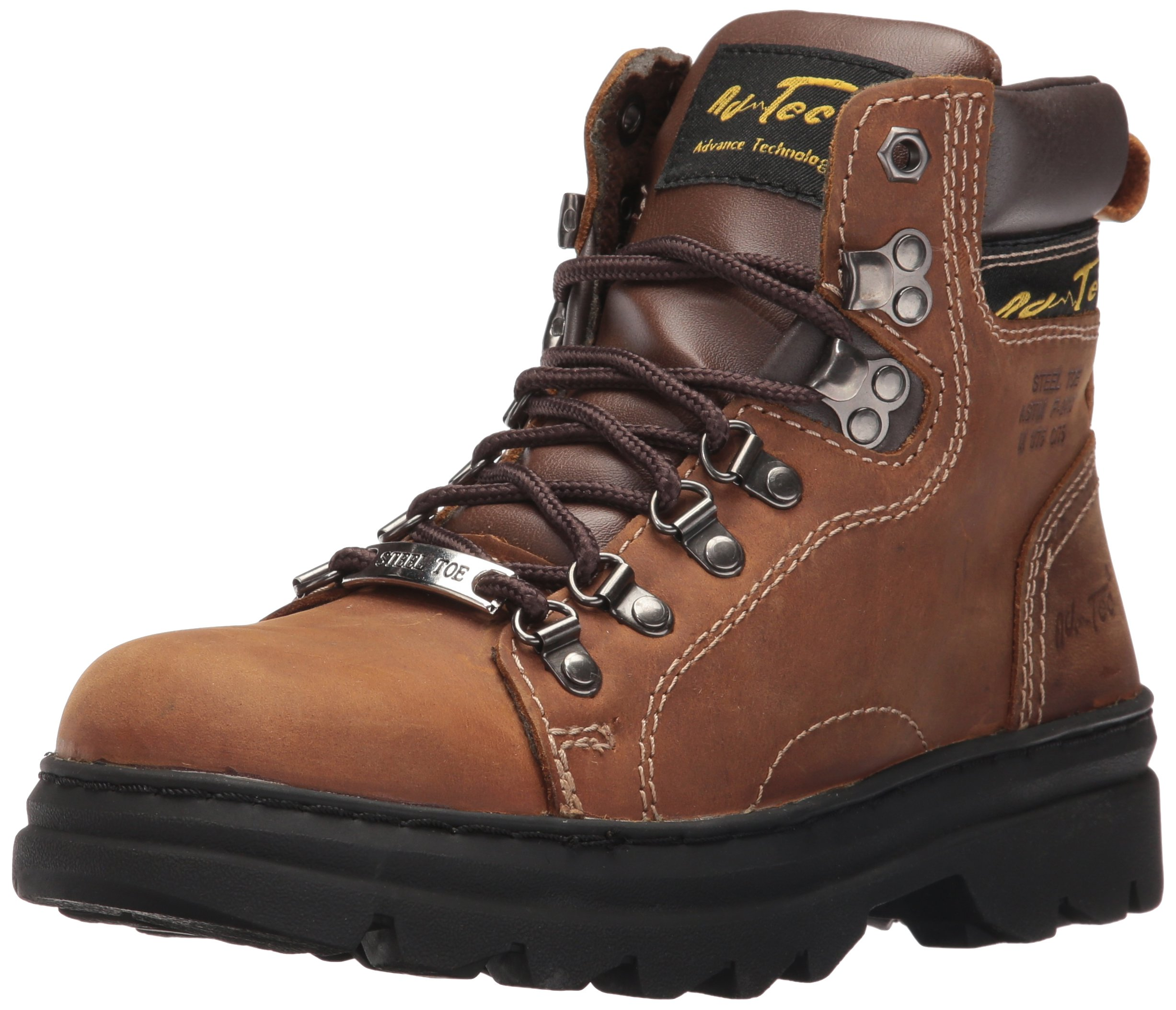 Adtec Men's 1977 6'' Steel Toe Hiker Work Boot, Brown, 8 W US