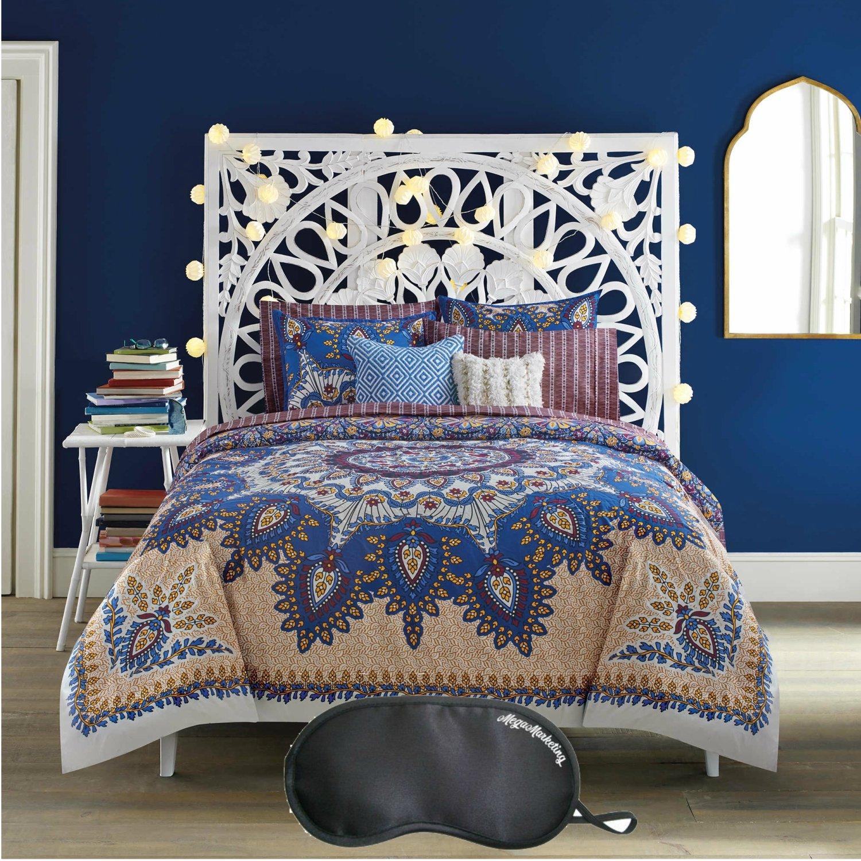 Anthology Marrakesh Vibe Bohemian-Inspired 7-Piece FULL Size Reversible Comforter Set with Sleep Mask