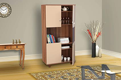 HomeTown Chief Engineered Wood Book Shelf in Wallnut Bronze & Capuchino Colour
