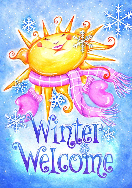 Toland Home Garden Winter Welcome 12.5 x 18 Inch Decorative Smiling Sun Snowflake Garden Flag