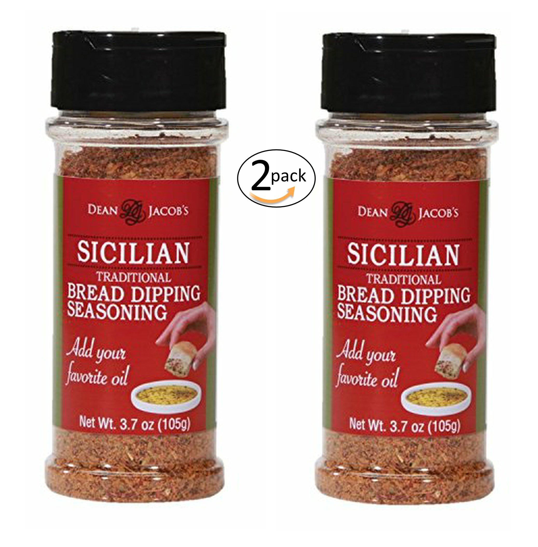 Dean Jacob's Sicilian Bread Dipping Seasoning ~ 3.7 oz. Stacking Jar 2 pack