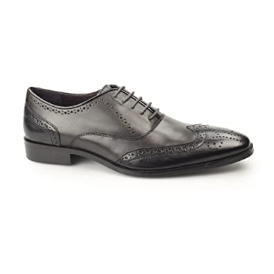 789ebd1ffa17f Gucinari Jonas Mens Leather Two Tone Oxford Brogues Black/Grey 40 ...