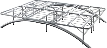 Flex Form Arched Platform Bed Frame Metal Mattress Foundation Silver Queen