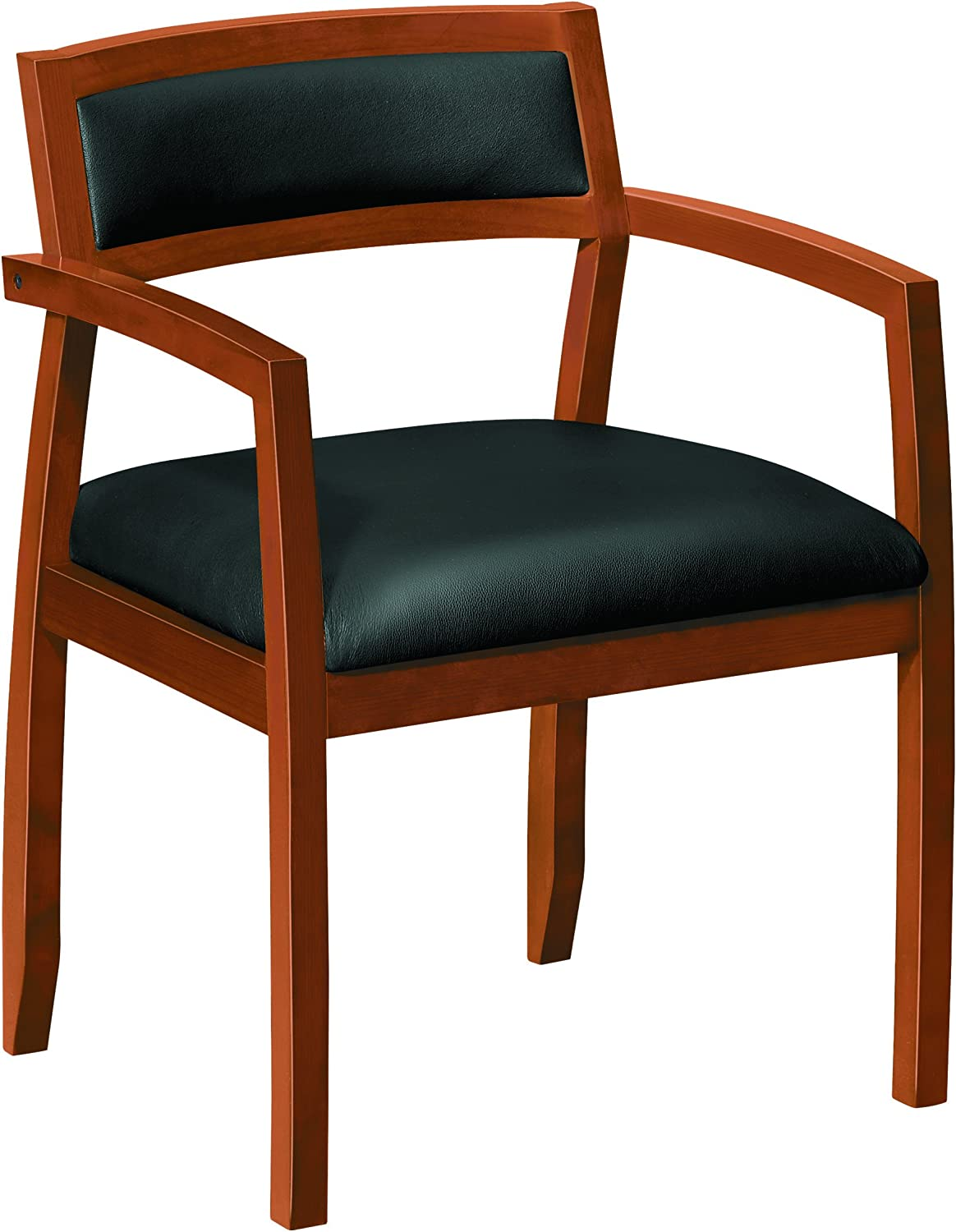 HON Topflight Wood Guest Chair - Leather Seated Guest Chair with Arms, Office Furniture, Bourbon Cherry Finish (VL852)