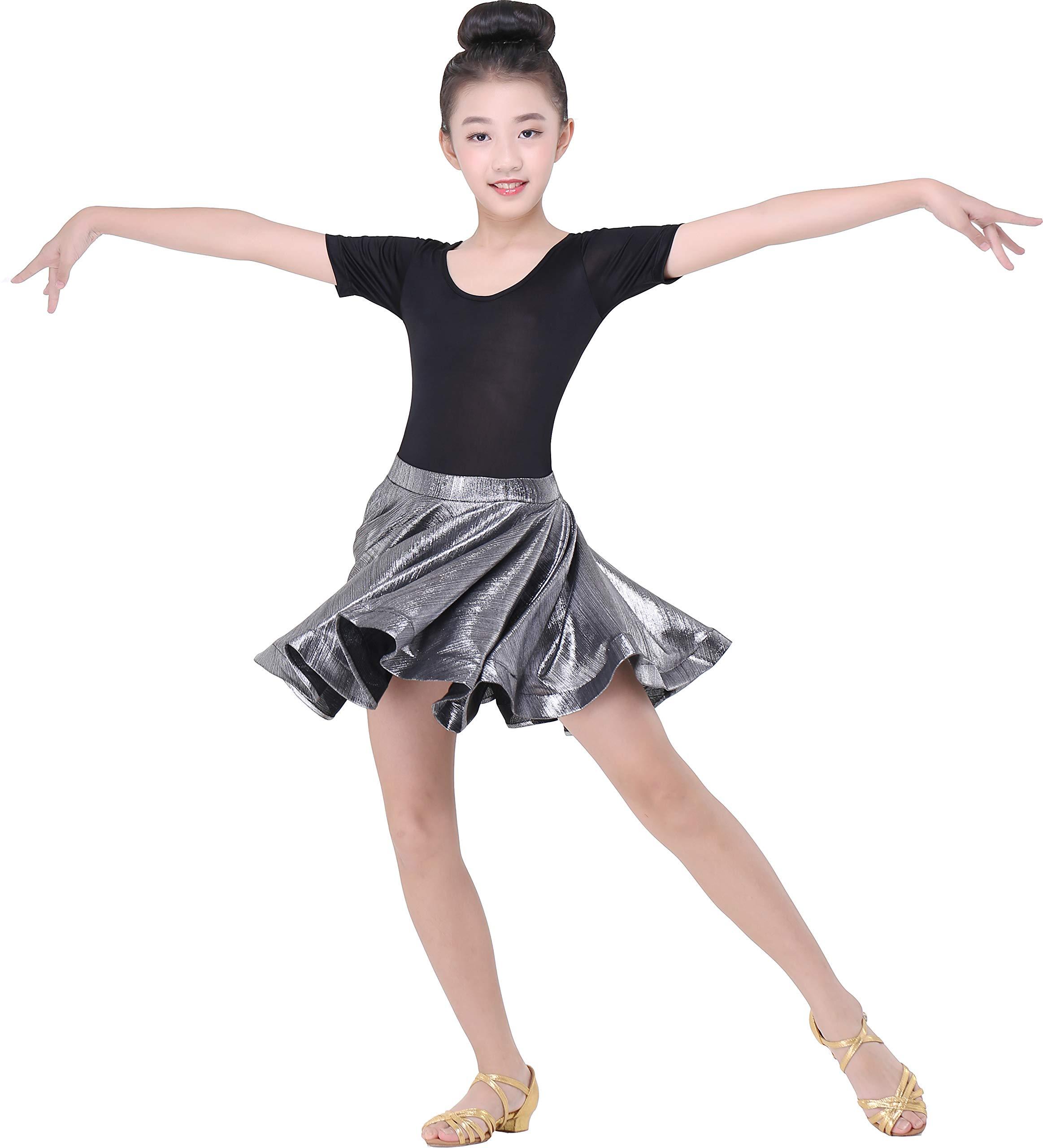 JEZISYMA Girls' Latin Salsa Ballroom Practice Dance Skirt (XS, Silver) by JEZISYMA