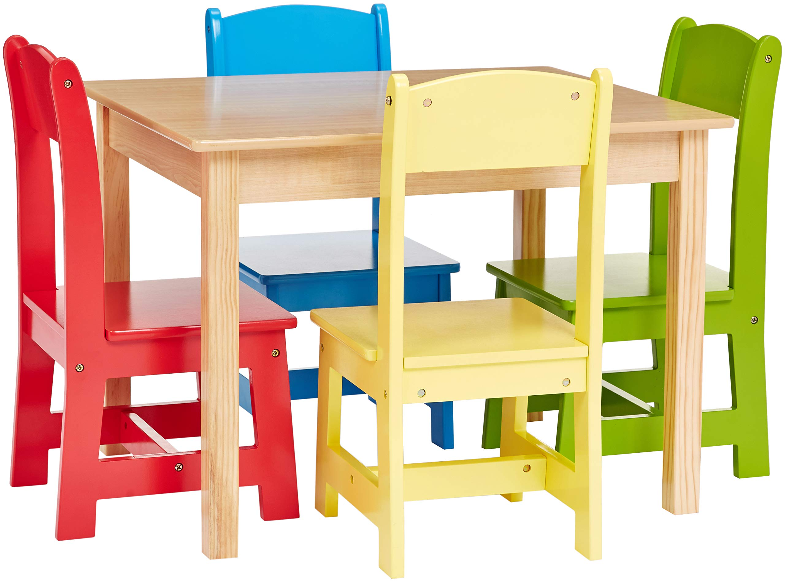 Phoenix Home AHV050402 Kid Table and Chair 26''x22''x19'' 10''x10''x22''(H), Green/Yellow/Red/Blue/Natural Wood