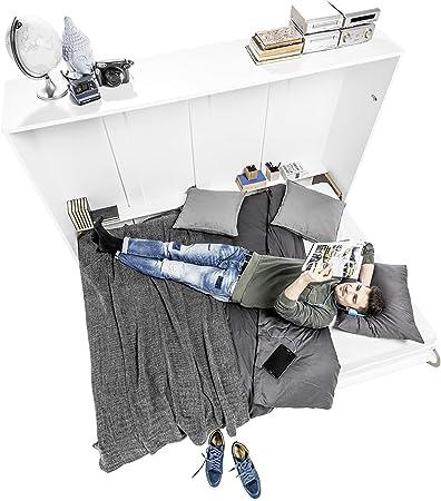 BIM Furniture Concept PRO - Cama plegable de pared vertical con un colchón, armario con cama plegable integrada, cama funcional