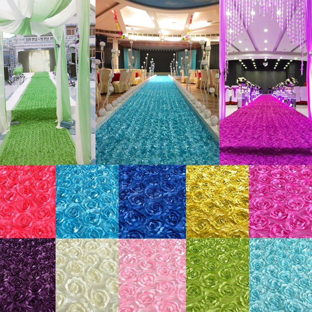 ChenXi Shop 140*190CM 3D Rose Flower Satin Wedding Aisle Runner Carpet Curtain Backdrop Party Decoration