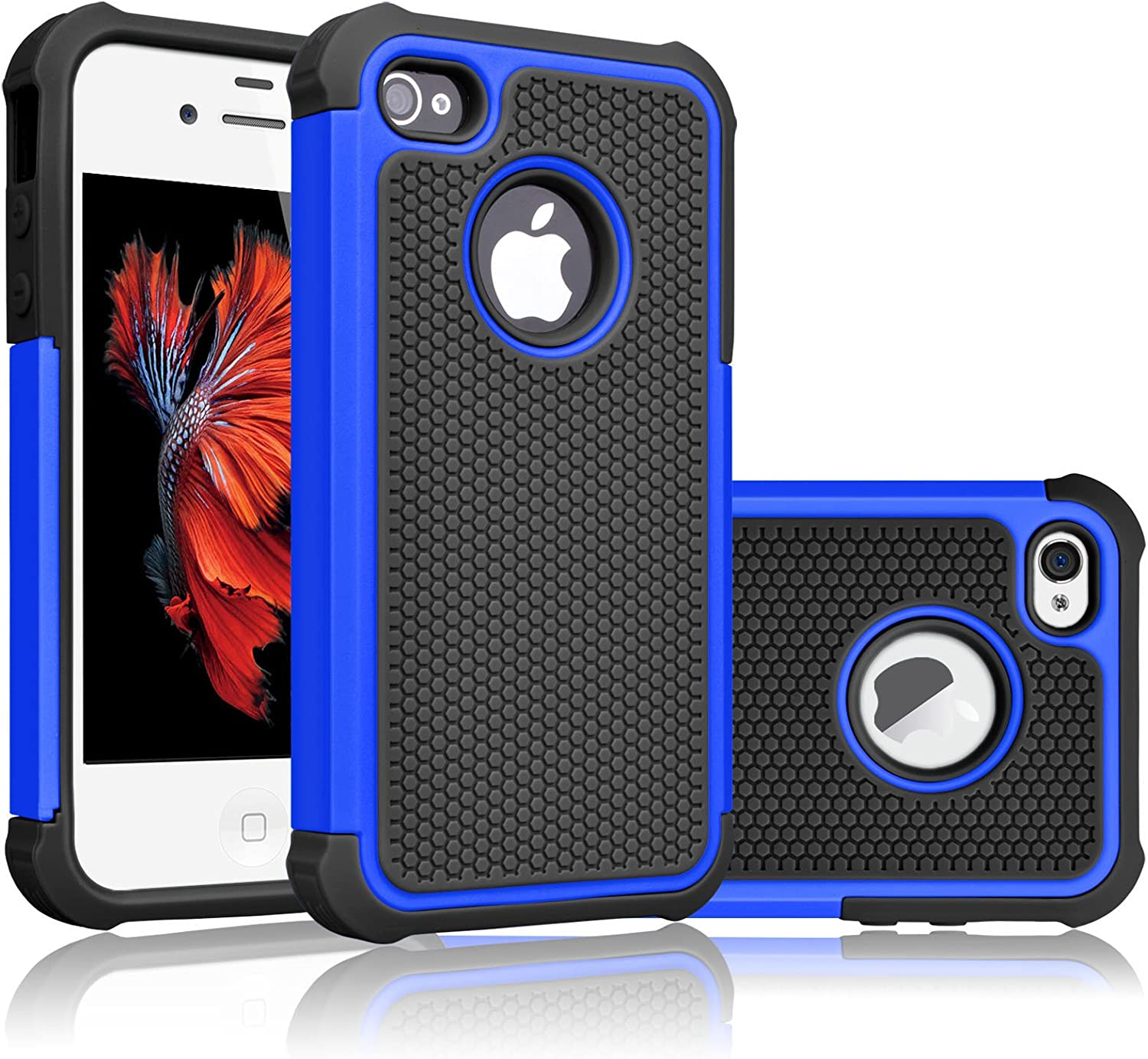 Tekcoo Compatible for iPhone 5S Case/iPhone SE Case/iPhone 5 Case, [Tmajor Series] [Blue/Black] Shock Absorbing Hybrid Defender Rugged Cover Skin Shell Hard Plastic Outer & Rubber Silicone Inner