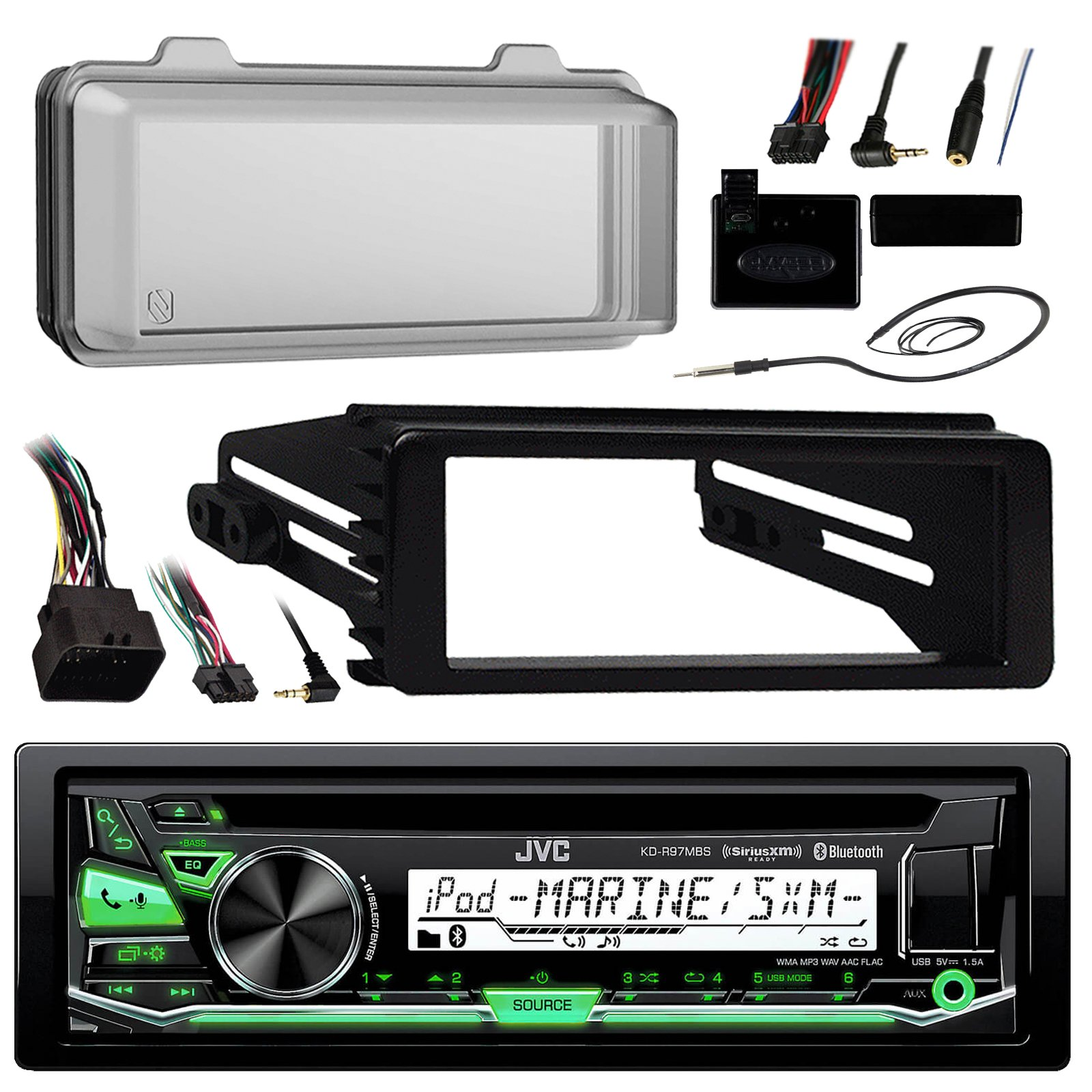 98-2013 JVC Harley Touring ATV Install Adapter Dash Kit FLHT CD MP3 AM/FM Radio Stereo With Bluetooth FLHTC CD Dash FLHX With Enrock Marine Radio Antenna + Stereo Cover by EnrockMarineBundle