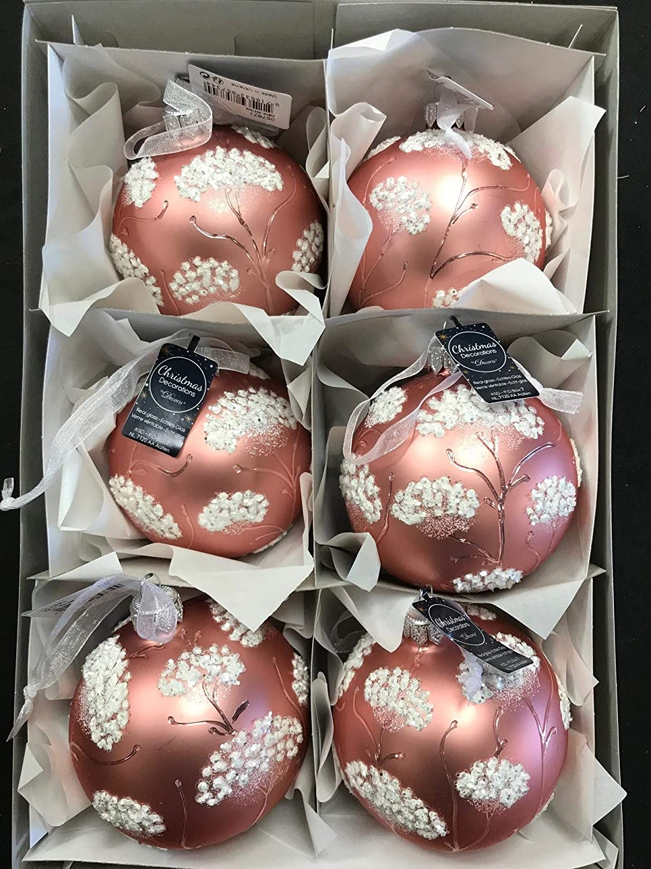 Box of 6 Kaemingk Pink /& White Glass Christmas Baubles Flower Design