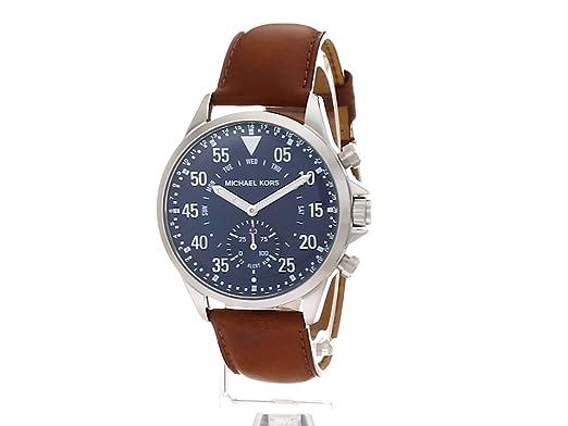 Michael Kors Mens Silvertone Leather Strap Gage Hybrid Smart Watch