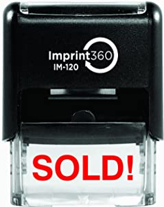 Supply360 AS-IMP1079 - Sold!, Heavy Duty Commerical Quality Self-Inking Rubber Stamp, Red Ink, 9/16