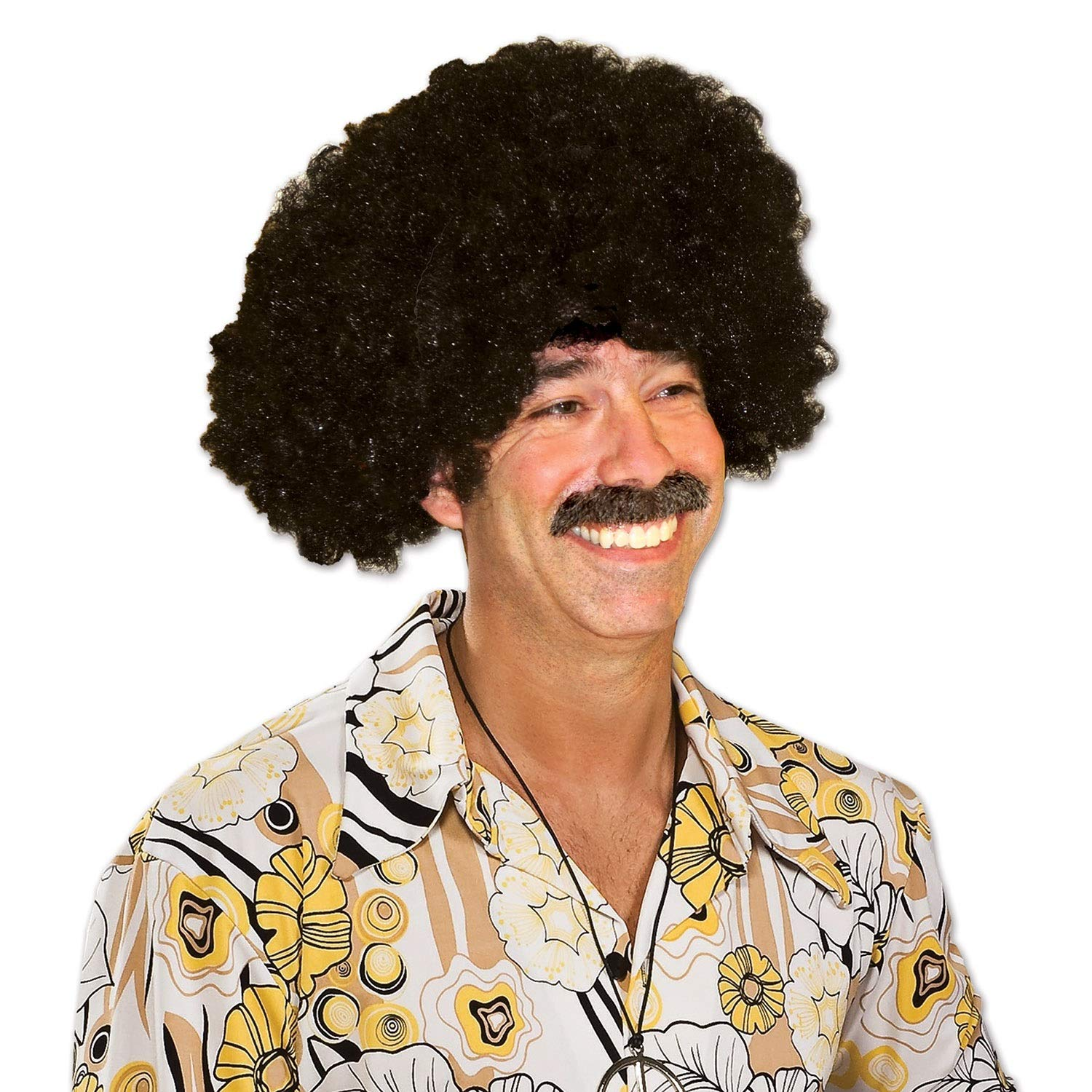 Club Pack of 12 Fashionable Celebrate Good Times 70's Disco Theme Black Afro Wig