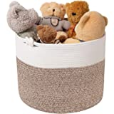 Goodpick Cotton Rope Basket with Handle Natural Woven Basket for Baby Laundry Basket Wicker Basket Toy Basket Blanket Storage