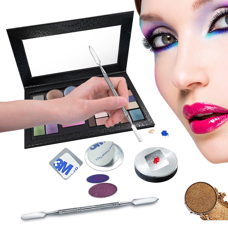 Allwon 56Pcs Metal Stickers for Magnetic Palette Empty Eyeshadow Makeup Palette + Depotting Spatula (28Pcs Round + 28Pcs Square) by Allwon (Image #4)