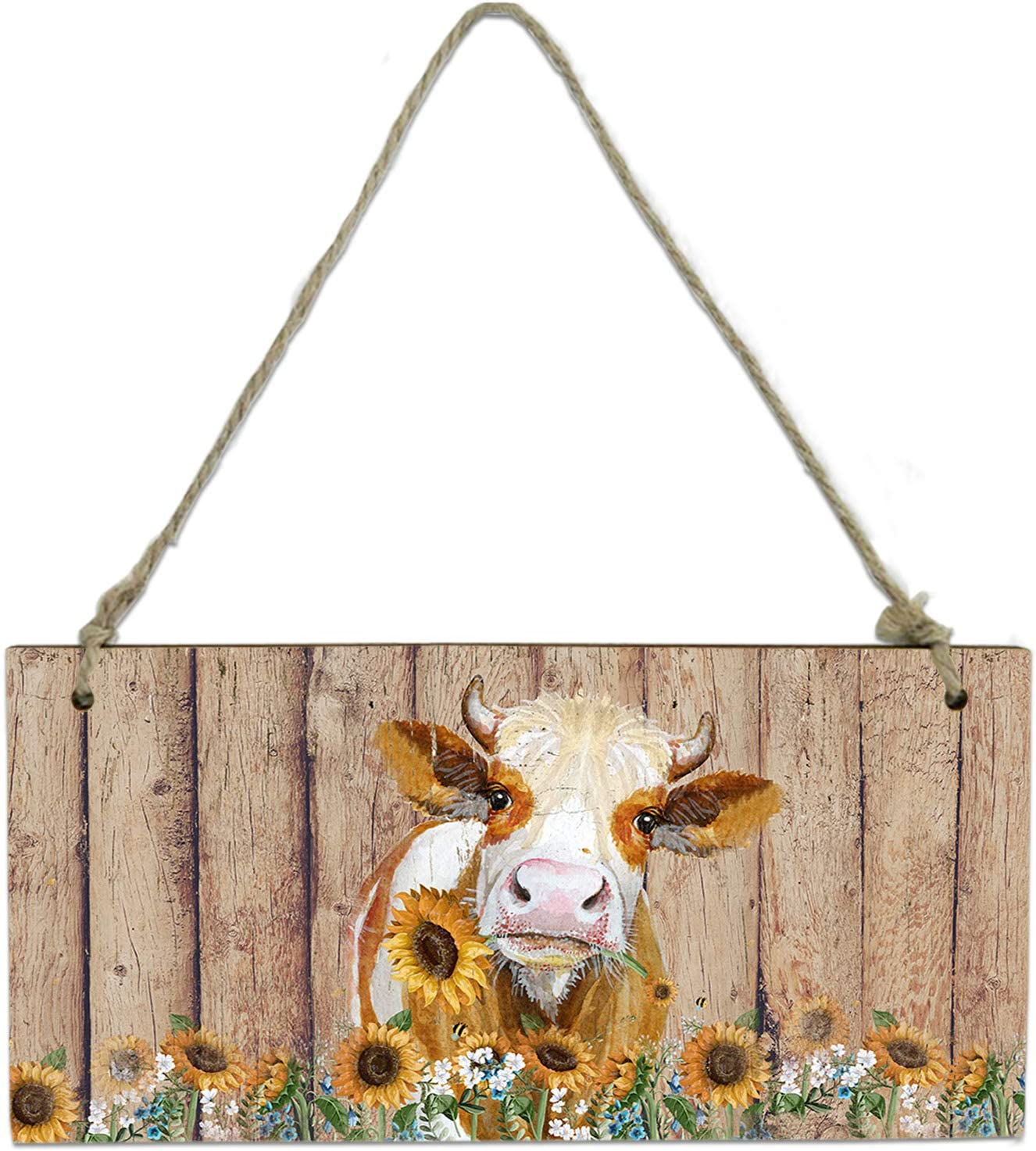 Wall Decor Sign Welcome Sign, Vintage Farm Cattle with Sunflower Board Plank Painting Wooden Hanging Sign Plaque with Rope for Porch,Front Door,Garden,8x4 Inch