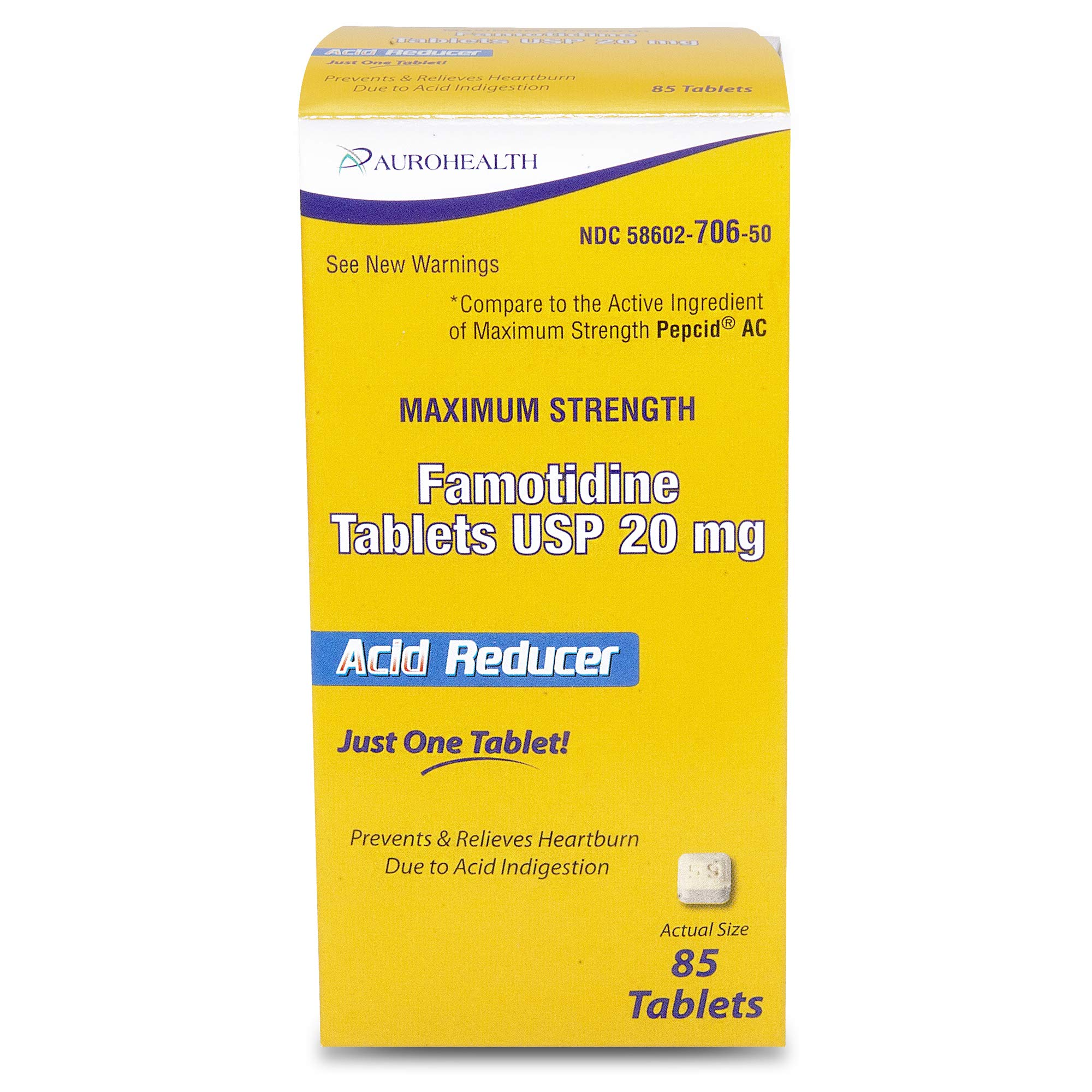 Aurohealth Maximum Strength Famotidine Tablets USP 20 mg 85 Count (1 Pack)