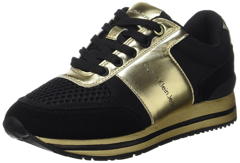 Calvin Klein Tanya Suede/Nylon/Metal Smooth, Zapatillas para Mujer 41 EU|Varios Colores (Black/Gold)