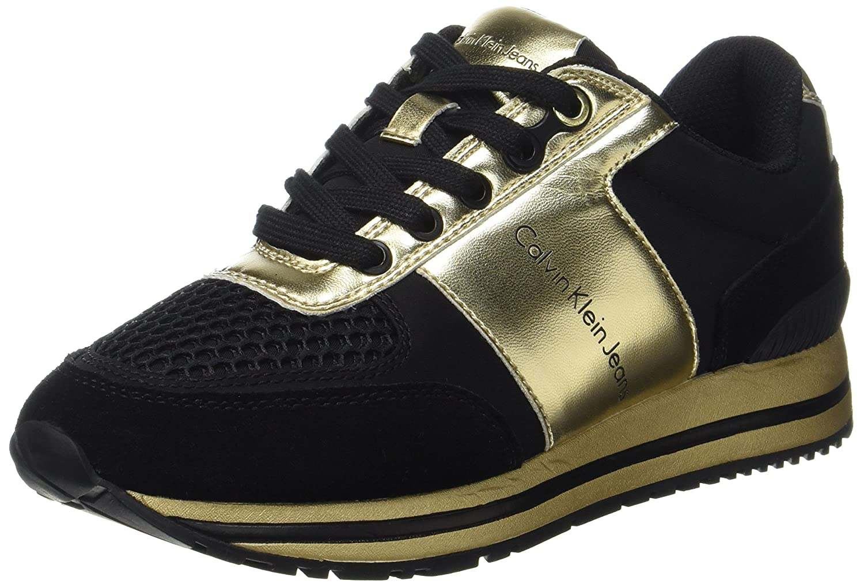 TALLA 38 EU. Calvin Klein Tanya Suede/Nylon/Metal Smooth, Zapatillas para Mujer