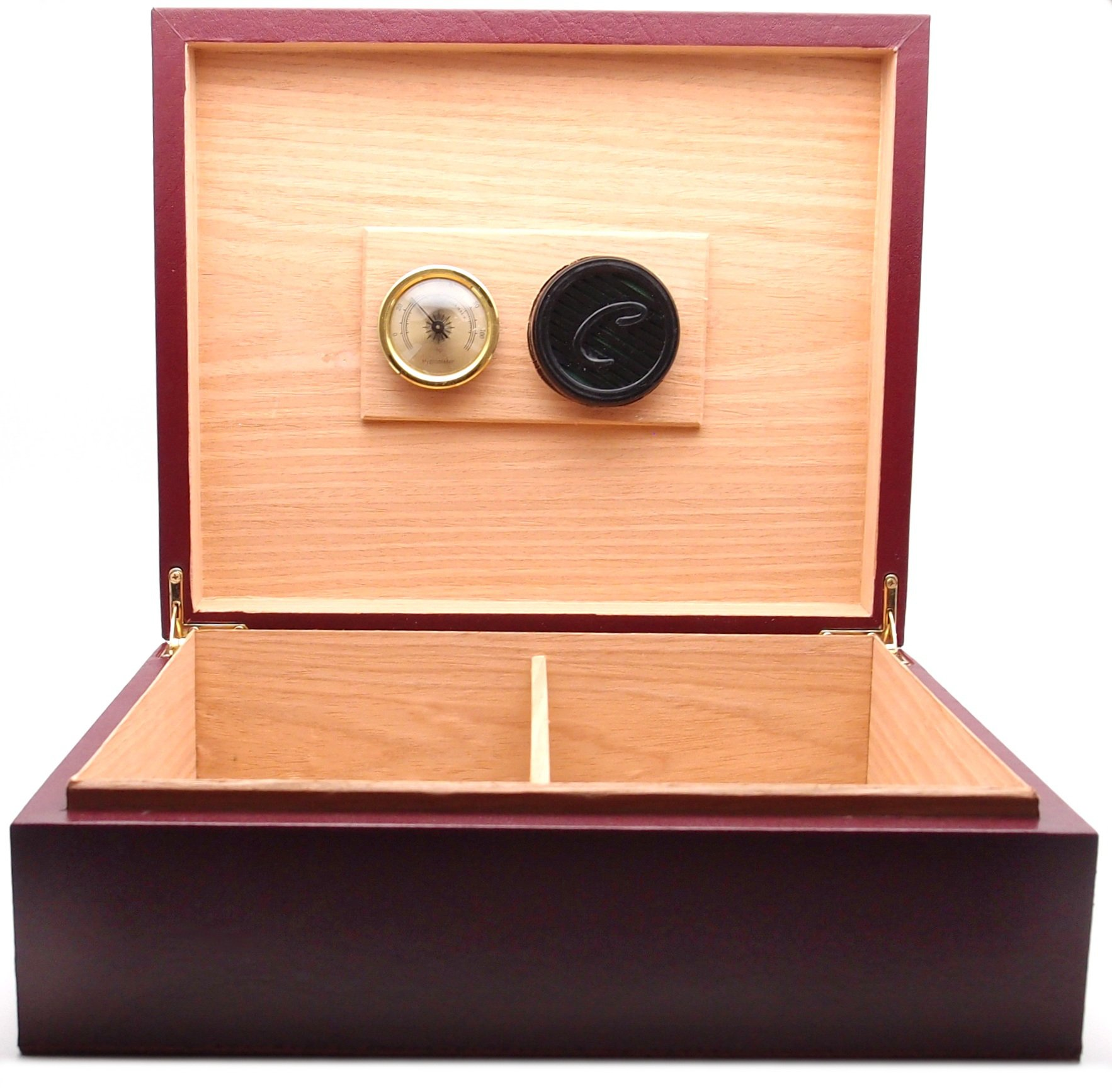 Desktop Leather Cigar Humidor Handcrafted - Authentic Full Grade Buffalo Hide Leather - Burgundy