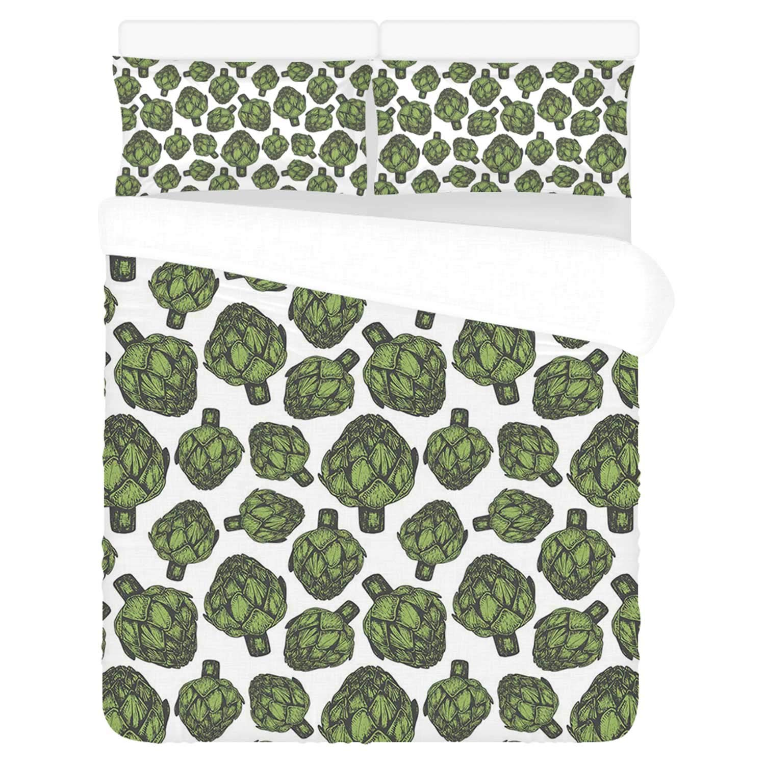 """Artichoke Comfortable 3 Piece Bedding Set,Detailed Drawing of Super Foods Fresh Vitamin Sources Natural Nutrition Source for Home,Duvet Cover:86""""L x 70""""W,Pillow Cases:30""""L x 20""""W"""