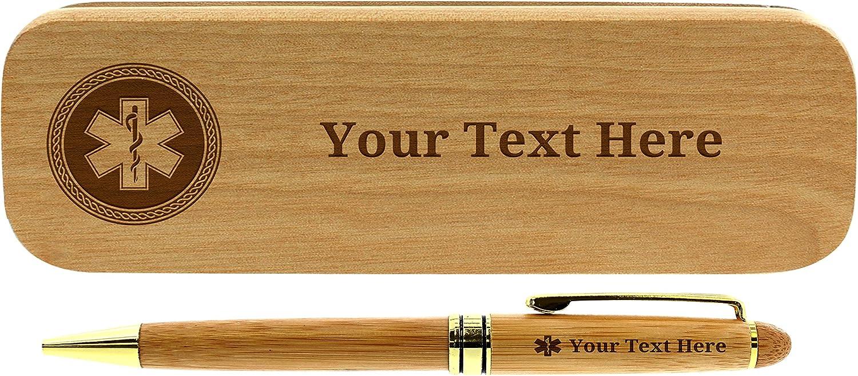 Custom EMT Gifts Engraved Pen Case Set EMS Pens Personalized Engraved Bamboo Wood Gift Pen Case Set