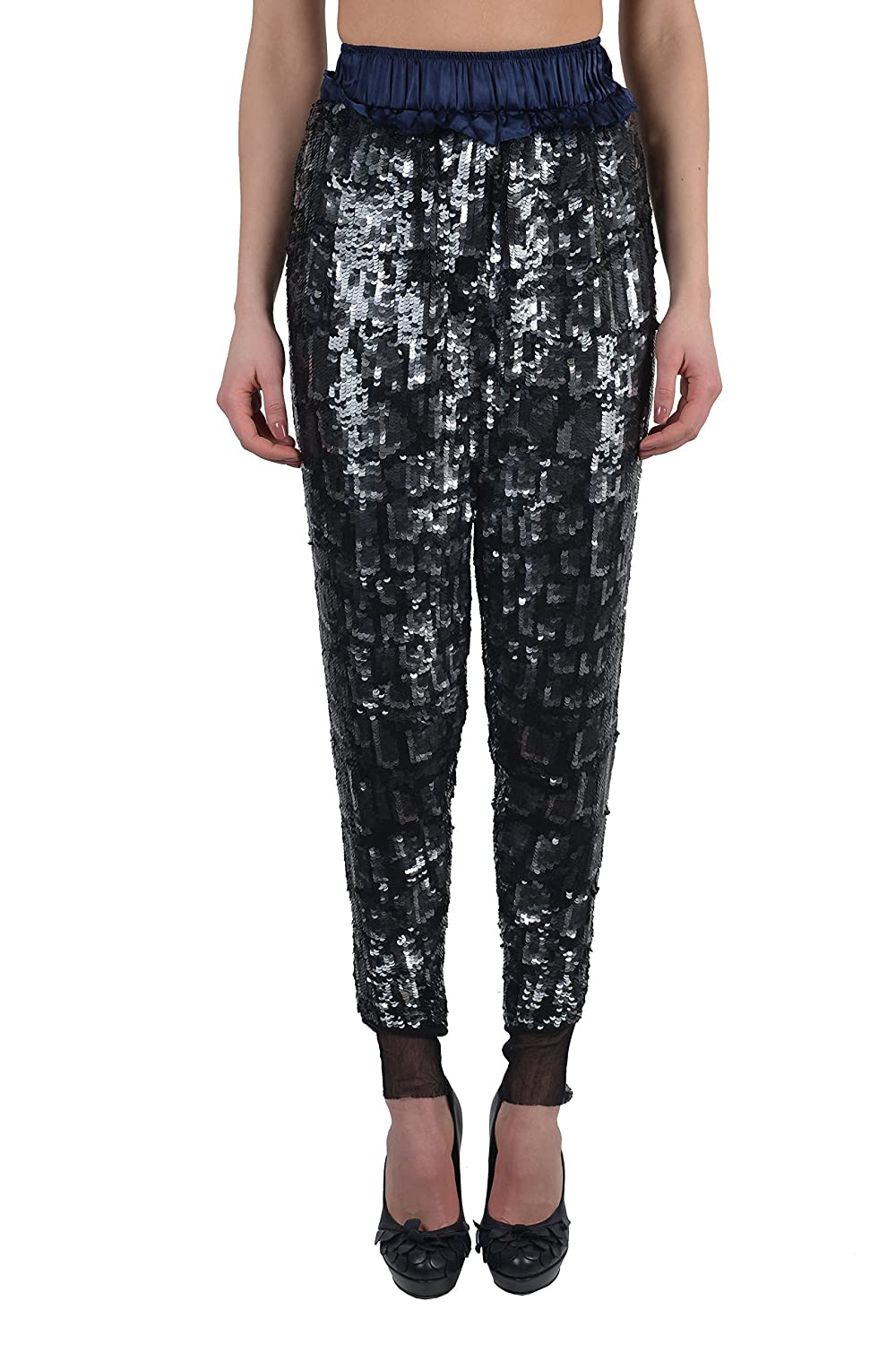 Just Cavalli Women's Multi-Color Sparkle Elastic Waist Casual Pants US 4 IT 40