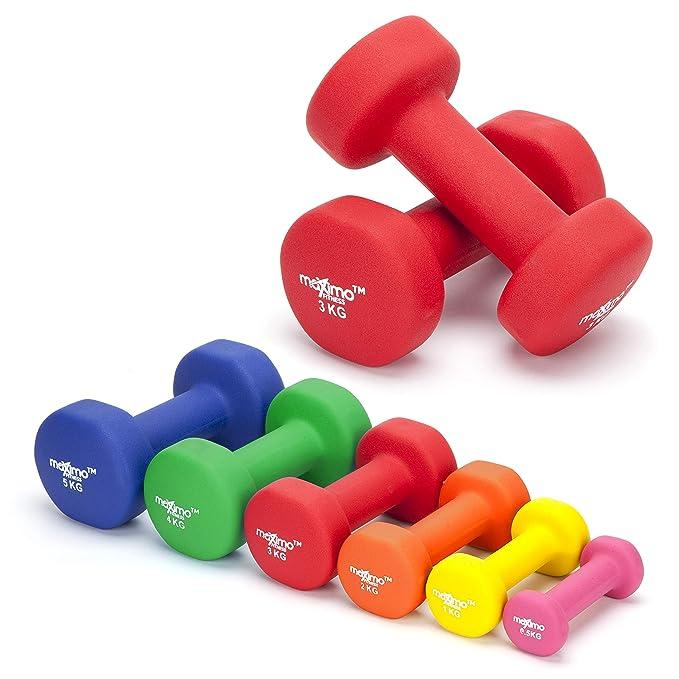 Maximo Fitness Mancuernas de Neopreno (Par) - 2 x 3kg - Pesas de Mano Desarrollo de Fuerza, Tonificación Muscular, Gimnasia en Casa y Rehabilitación - Ideal ...