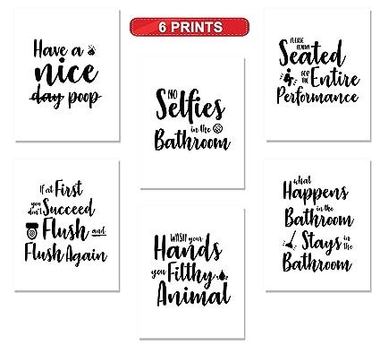 Amazoncom Bathroom Quotes And Art Sayings Prints Set Of Six